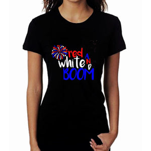 Red White Boom Glitter T Shirt