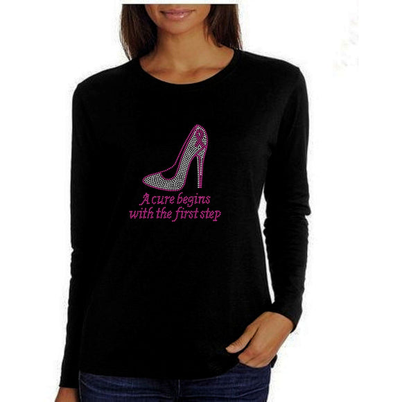 A Cure Begins With The First Step Rhinestone Tee S / Black Long T-Shrts