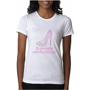 A Cure Begins With The First Step Rhinestone Tee