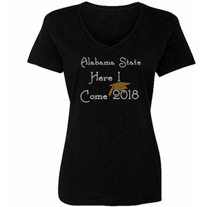 College Here I Come Custom Rhinestone T Shirt