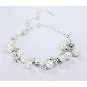 Crystal And Pearls Ankle Bracelet White