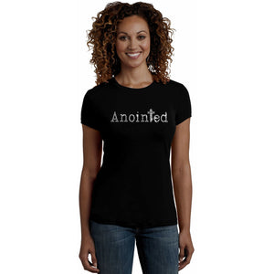 Anointed Rhinestone Self Expression T Shirt S / Black Short T-Shrts