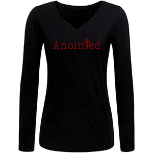 Anointed Rhinestone Self Expression Long Sleeve V-Neck T-Shirt