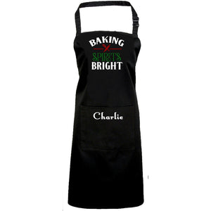 Baking Spirits Bright Personalized Apron One Size / Black