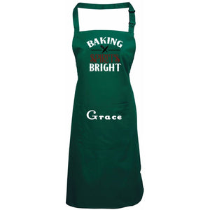 Baking Spirits Bright Personalized Apron One Size / Green