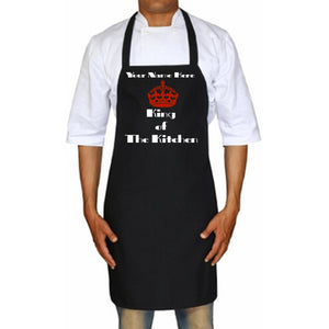 King Of The Kitchen Personalized Apron One Size / Black Red