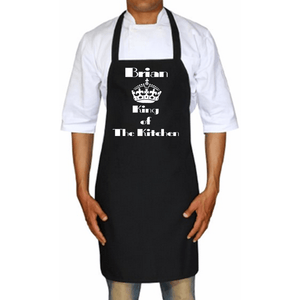 King Of The Kitchen Personalized Apron One Size / Black White