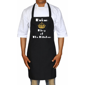 King Of The Kitchen Personalized Apron One Size / Black Gold