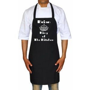 King Of The Kitchen Personalized Apron One Size / Black Silver