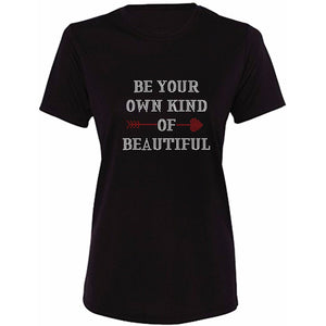 Be Your Own Kind Of Beautiful Glitter Rhinestone Tee S / Black Crew T-Shrts