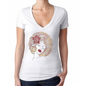 Billie Rhinestone Bling Afro Woman V-Neck T-Shirt