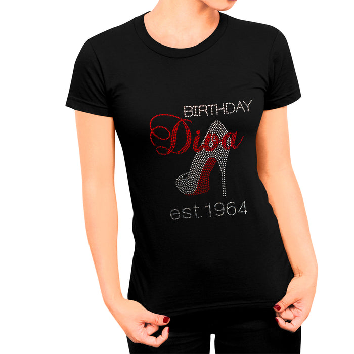 Birthday Diva Personalized Est. Date Rhinestone T-Shirt