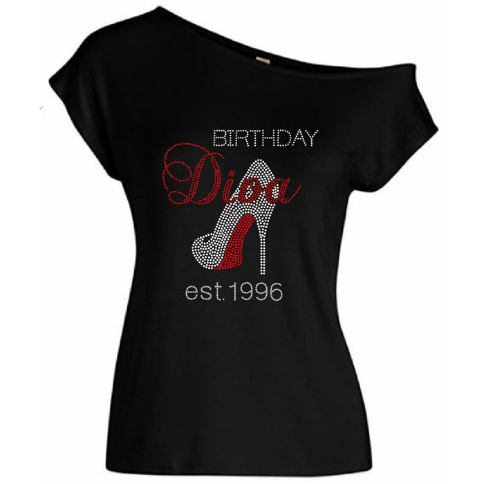 Birthday Diva Personalized Est. Date Rhinestone Off Shoulder T-Shirt