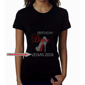 Birthday Diva Personalized City And Year Rhinestone T-Shirt