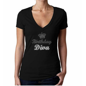 2039959e9894 Birthday Diva Crown Rhinestone Glitter T Shirt