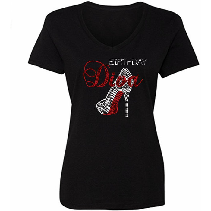 Birthday Diva Rhinestone Stiletto T-Shirt