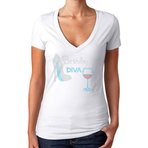 Birthday Diva Rhinestone Wine Stiletto Shoe T Shirt