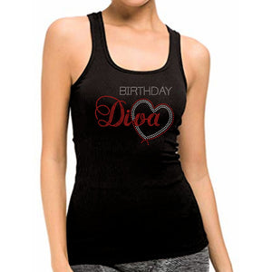 Birthday Diva With Heart Rhinestone Tank Top