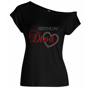 Birthday Diva With Heart Rhinestone Off Shoulder T-Shirt