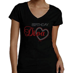 Birthday Diva With Heart Rhinestone T-Shirt