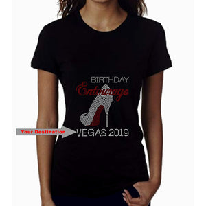 Birthday Entourage Personalized City And Year Rhinestone T-Shirt