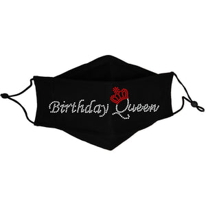 Birthday Queen Rhinestone Cloth Face Mask