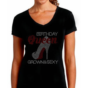 Birthday Queen Rhinestone Stiletto Shoe T Shirt