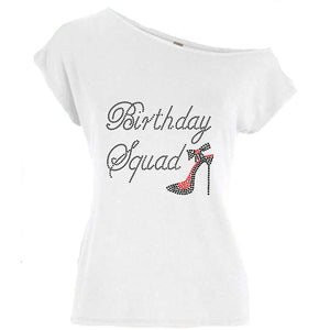 Birthday Squad Rhinestone Shoe T Shirt