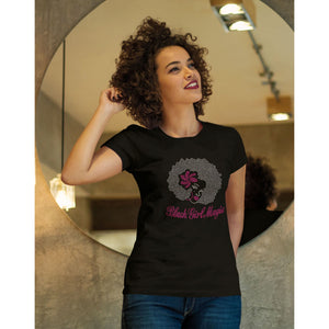 Black Girl Magic Afro Girl Rhinestone T Shirt