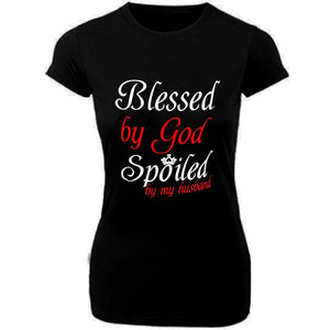 Blessed By God Spoiled By My Husband Short Sleeve T-Shirt