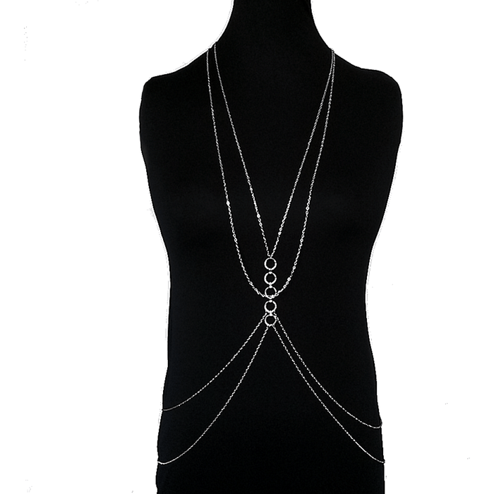 Silver Double Chain Celebrity Inspired Body Chain Jewelry