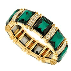 Emerald And Gold Rhinestone Stretch Bracelet Jewlery Bracelets
