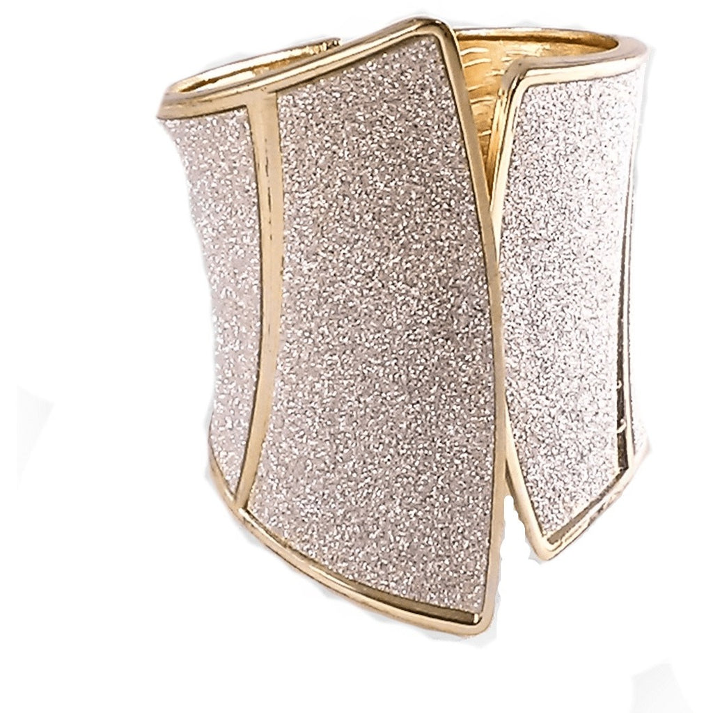 Bracelets - Gold & Silver Sparkling Corset Look Hinged Cuff Bracelet