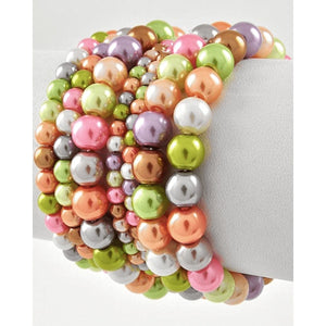 Multi Color Pearl 7 Piece Stackable Stretch Bracelet Multi-Color Bracelets