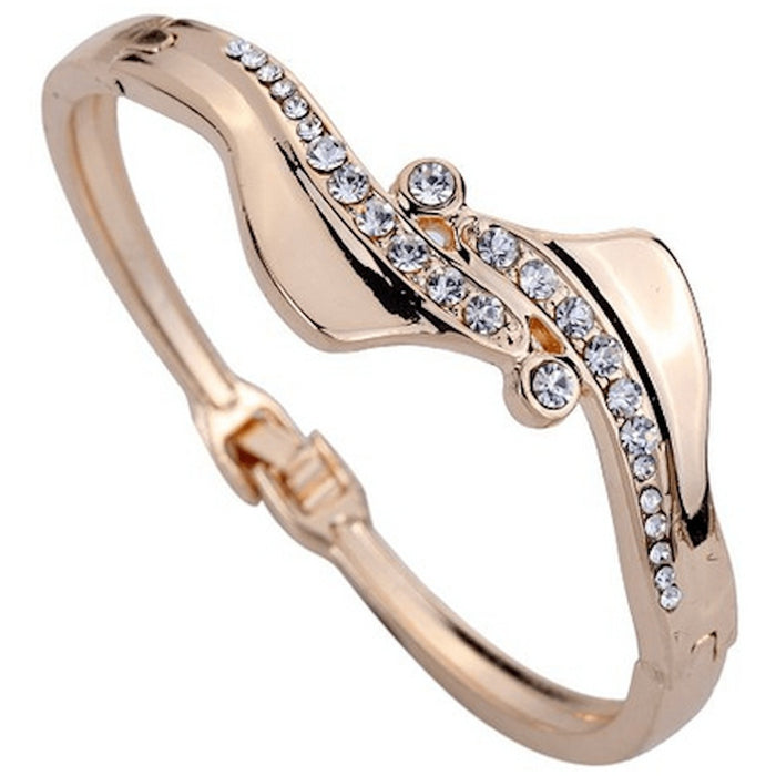 Rose Gold Rhinestone Wave Bangle Bracelet