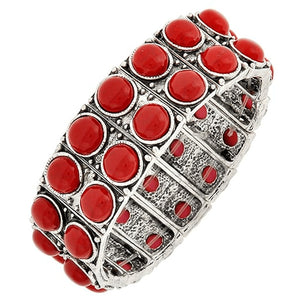 Two Row Red Bead Stretch Bracelet Bracelets