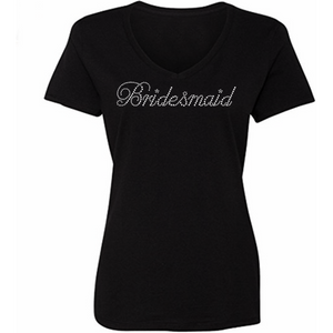 Bridesmaid Maid of Honor Personalized Rhinestone T Shirt