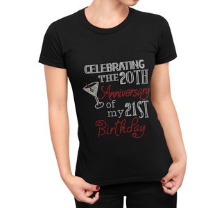 Celebrating My Personalized Birthday Anniversary Age Rhinestone Tee
