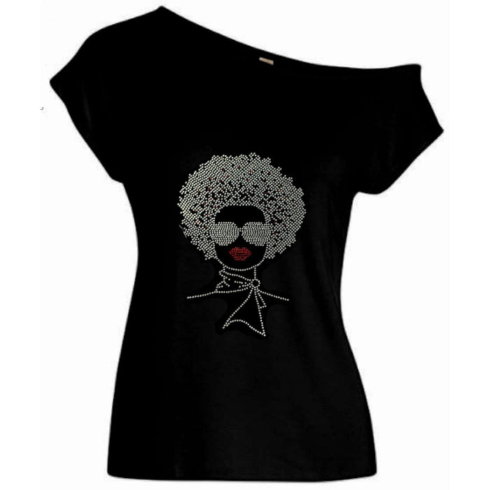 Coco Rhinestone Afro Hair Style Off Shoulder T Shirt