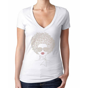 Coco Rhinestone Afro Hair Style T Shirt
