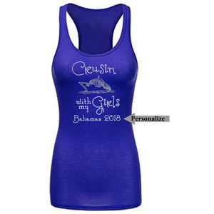 Crusin With My Girls Personalized Rhinestone Tank Top