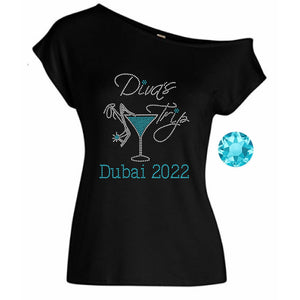 Divas Trip Personalized Rhinestone Off Shoulder Tee
