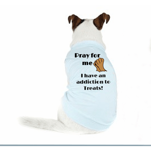 Pray For Me Addicted To Treats Doggy T-Shirt Xs / Blue Dog T Shirts