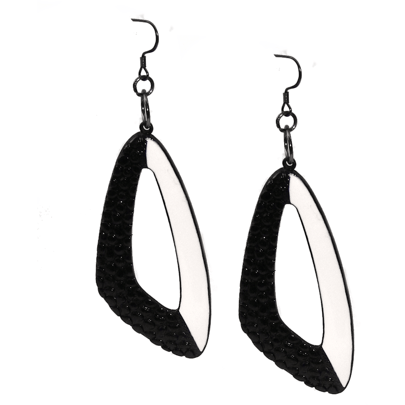 Earrings - Black And White Triangle Dangling Earrings