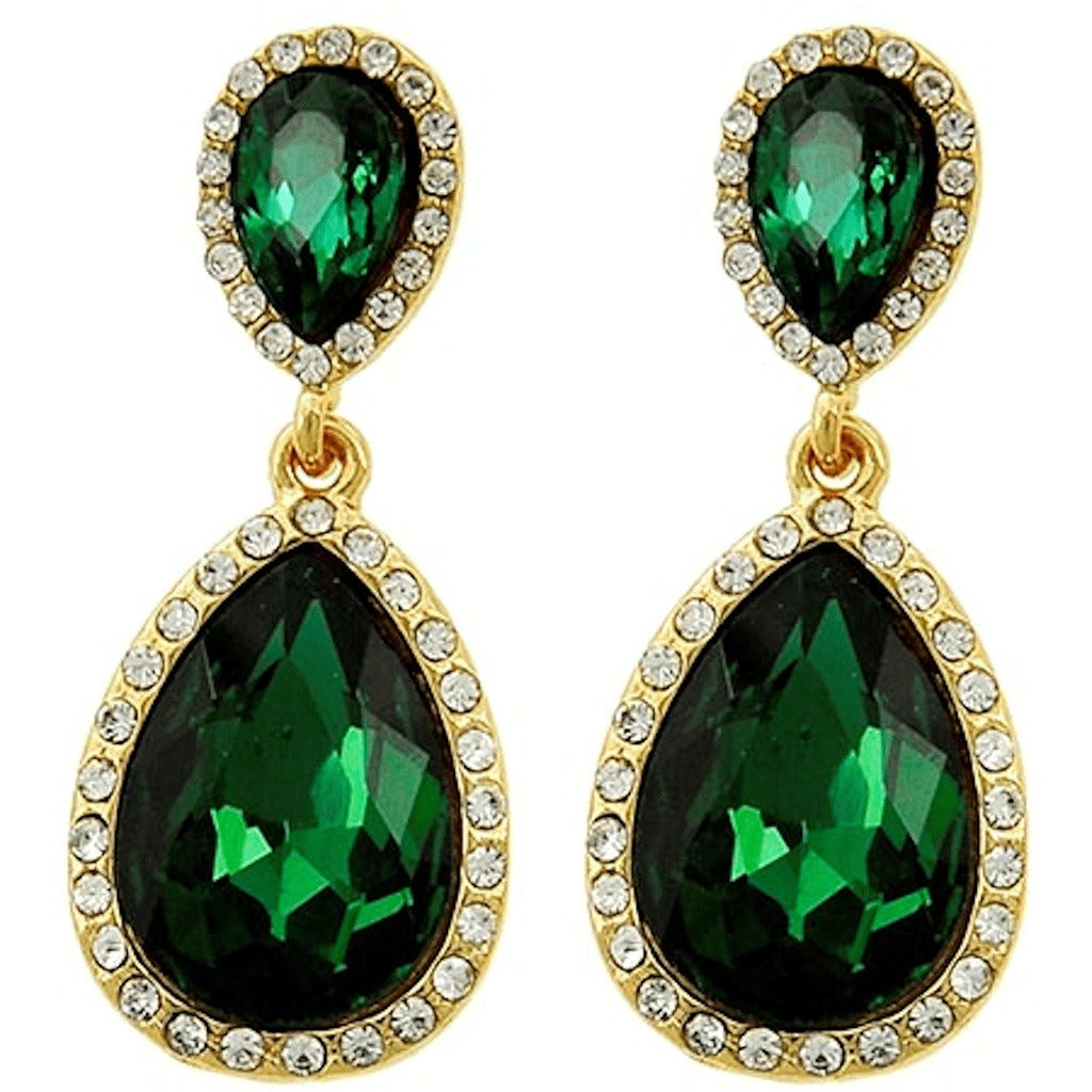 Earrings - Celebrity Inspired Emerald Rhinestone Teardrop  Dangle Earrings