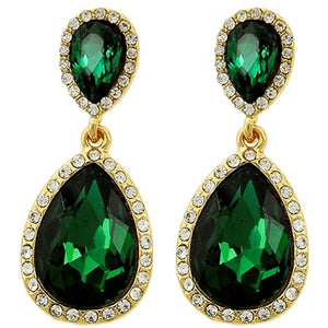 Celebrity Inspired Emerald Rhinestone Teardrop Dangle Earrings Earrings