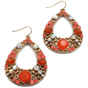 Crystal Teardrop Hoop Earrings Coral