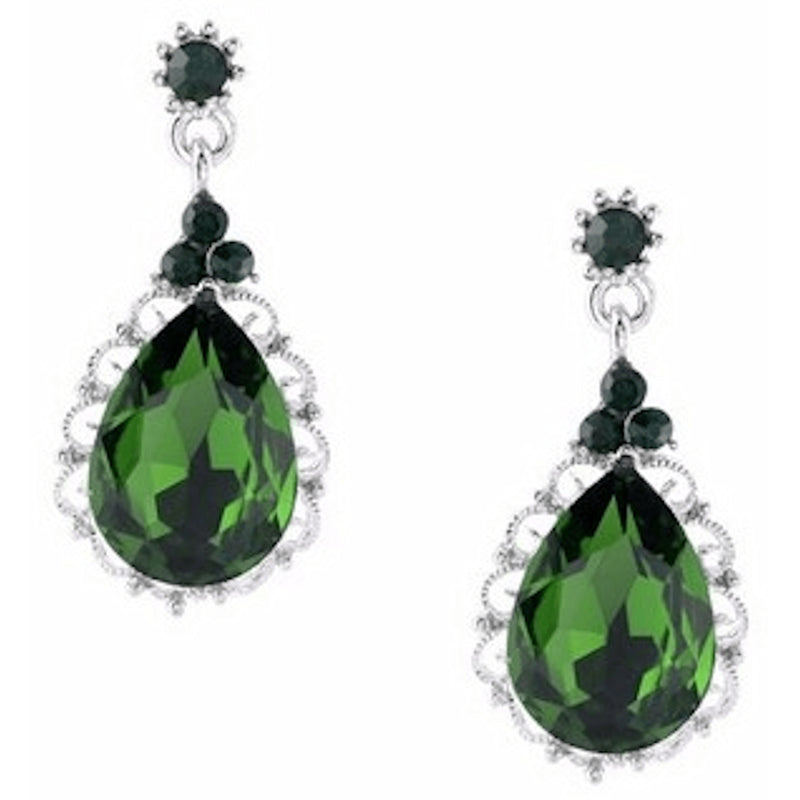 Earrings - Emerald Rhinestone Teardrop Dangle Earrings