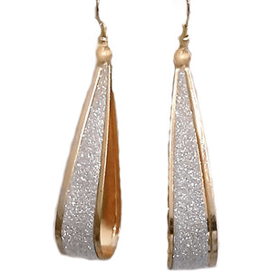 Gold Shimmering Silver Stardust Teardrop Hoop Earrings