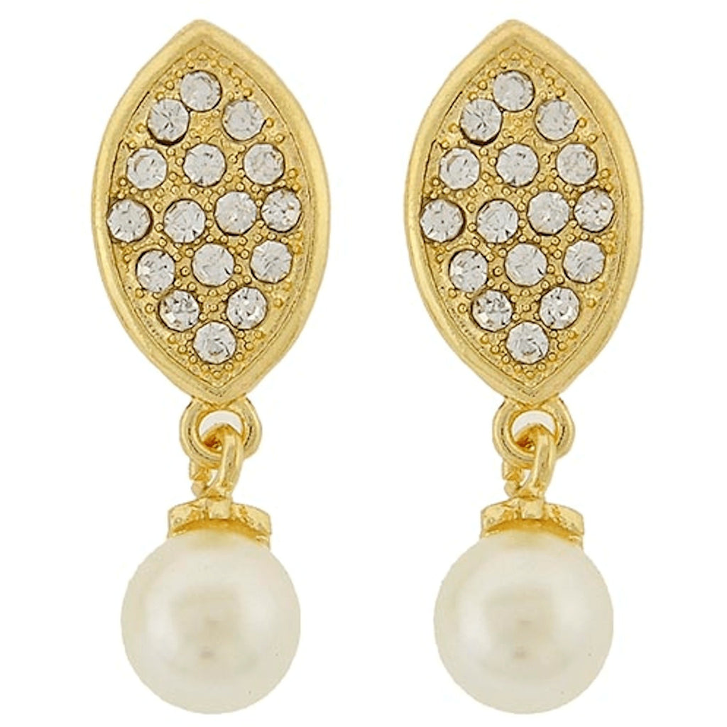 Earrings - Pearl And Crystal Rhinestone Oval Dangle Earrings
